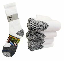 4 Pk CREW PREMIUM HEAVY SOCKS COTTON LONG MID CALF WHITE BLACK THICK SOCKS 10-13