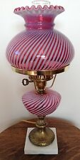 VINTAGE FENTON CRANBERRY OPALESCENT SWIRL OPTIC LAMP CSOL2