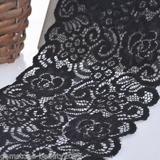 GB 14cm Black Elastic Lace Trim Ribbon Fabric Crafts Sewing Suppies