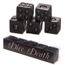 SET OF 5 BLACK SKULL DICE - DICE WITH DEATH - SKULL - DICE - GAME - GOTHIC