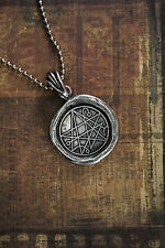 Pewter Necronomicon Gate Seal Necklace - Lovecraft Cthulhu Grimoire