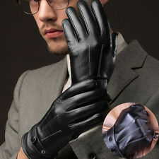Fashion  Men Winter Leather Motorcycle Full Finger Touch Screen Warm Gloves FS