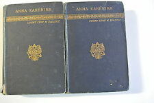 Anna Karenina by Count Lyof N. Tolstoi. Two volume set, published in 1890 Scott.