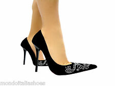 MORI ITALY POINTY PUMPS HIGH HEELS SEXY SCHUHE CRYSTAL LEATHER BLACK NERO 40
