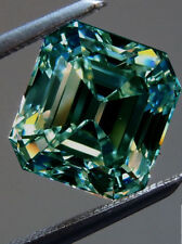 5.90 ct SI1 BLUEISH GREEN COLOR ASSCHER CUT LOOSE REAL MOISSANITE 4 RING/PENDANT