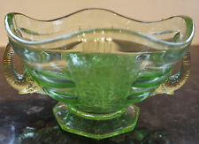 Sowerby Posy Set Elephant Bowl and Flower Frog Green Glass c1930's Patt No:2614