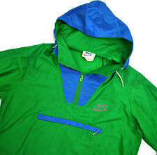 Nike USA 80's vtg Windbreaker Jacket Med Green Anorak Half Zip Nylon Orange Tag