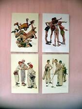 Norman Rockwell Sports Lot of 4 Boys Sports Postcards - New