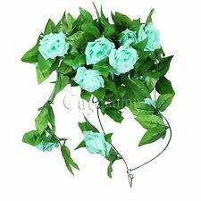 Turquoise Artificial Silk Rose Flower Ivy Vine Hanging Garland Wedding Decor