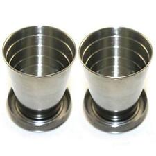 Lot 2 75ml Stainless Steel Travel Portable Folding Collapsible Cup Portable