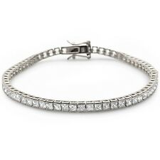 Princess Cut Cubic Zirconia Box Tennis Bracelet .925 Sterling Silver Bracelet