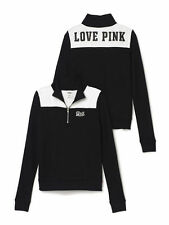 Victoria's Secret Pink Perfect Quarter Zip Sweatshirt Black & White X-Small