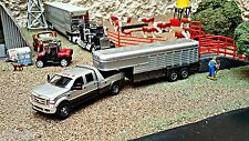 2008 Ford F350 Ranch Bed w/Gooseneck Trailer Silver/Dark Gray CUSTOM/TRUCK/FARM