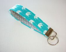 Key Fob - Wristlet - keyChain - key chain white elephants on turquoise gray dots