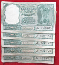 OLD INDIA~5 RUPEE~5 SERIAL UNC NOTES~3 DEER ISSUE~P C BHATTACHARYA.RARE.