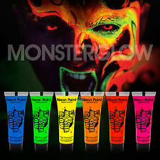 Monsterglow Intense Neon UV Face & Body Paint - 10ml Set of 6  UV Glow,