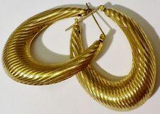 boucles d'oreilles percées bijou vintage couleur or anneaux vintage strié * 1391
