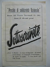 PUBBLICITA BUONI DEL TESORO Banca Prestito Solifarietà nazionale - 1952