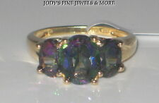 EXQUISITE ESTATE 10K YELLOW GOLD OVAL 3 STONE MYSTIC TOPAZ RING Sz 6.75