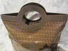 1980 FENDI TOTE SHOPPING BAG TAUPE LEATHER + TOBACCO BROWN ZUCCA CANVAS ITALY EC