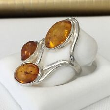 Gorgeous authentic Amber and sterling silver Ring from Poland Size 6