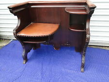 Antique Mahogany Carved Gossip Telephone Bench Settee
