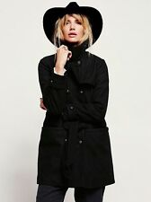 NEW WOMEN'S FREE PEOPLE BLACK MILITARY BELTED WOOL COAT SIZE MEDIUM