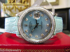 Mens Ladies ROLEX Oyster Perpetual Date 34mm Mother of Pearl Diamond Watch