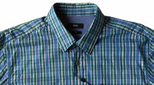 Men's HUGO BOSS Green Blue Plaid RONNY Shirt L Large NWoT NEW $145 Slim Fit