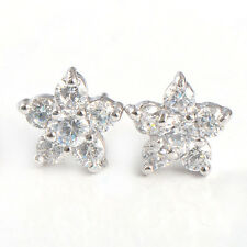Silver Small Flower Star White Gold Filled White Topaz Stud Earrings Womens Kids