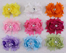Wholesale selling Party Infact Baby Girl Hair bows with clips 4inch-2668-9pc-S