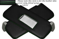 GREEN STITCHING 2X SUN VISORS LEATHER SKIN COVERS FITS FIAT PUNTO MK2 1999-2004