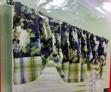 NEW Better Homes & Gardens Small Window Valance Plaid & Blooms Floral Navy Lime