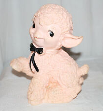 "VINTAGE PINK RUBBER BABY LAMB SQUEAK TOY 8"" TALL"