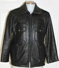 VTG POLICE BLACK LEATHER MOTORCYCLE BIKER JACKET / HEAVY DUTY / MEN SZ 40