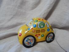 Vintage M&Ms M and M Volkswagen Beetle VW Car Shaped Tin Yellow