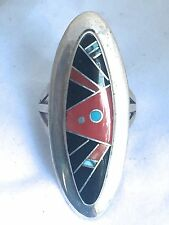 Vintage Sterling Silver Native American Zuni Ring Size 6 Sign Calvin Onyx Long