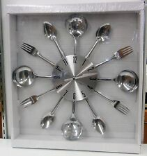 "SILVER  TONE KITCHEN  WALL CLOCK 15 ""DIAMETER WITH KITCHEN UTENSILS 66985"