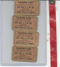 Vintage Lot tickets Camden Park Huntington WV Skee Ball & 3 IN Line  FREE SHIP