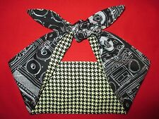 Head Scarf Hair Wrap Bandana  Rockabilly PinUp Black Houndstooth print boom box