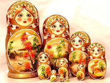 """Nature Russian Wooden Nesting Stacking Handmade Doll Matryoshka 10pc H25cm  9.8"""""""
