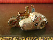 Scarce Saalheimer & Strauss SS Tin Wind-up Pillion Sidecar Motorcycle Motorbike