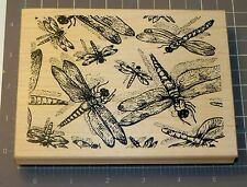 Northwoods Dragonfly Background Rubber Stamp Wood Mount  6 x 4.5 inches