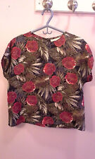 multi-colored floral Maggie Lawrence collection short sleeve shirt size L