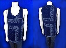 Men TRUE RELIGION Bandana print midnight blue tank top shirt size XL