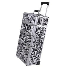 "2in1 Aluminum Rolling Cosmetic Makeup Artist Train Case Hair Style 38"" Lock Box"
