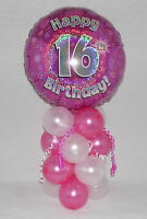 16TH BIRTHDAY-AGE 16-GIRLS -PINK -FOIL BALLOON DISPLAY-TABLE CENTREPIECE-BANNER