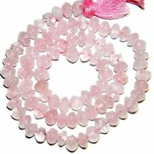 NG2098f Rose Quartz 6x3-7x6mm Handcut Saucer Rondelle Natural Gemstone Beads 14""