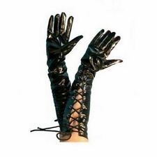 long black gloves vinyl stretch unisex pvc fancy dress temptress