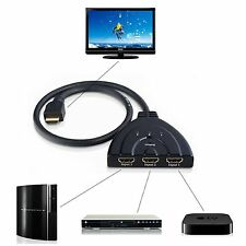 3 IN 1 OUT 1080P Hub V1.4B HDMI Switch Switcher Splitter Cable For HDTV XBOX  UR